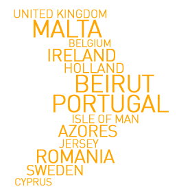 UK, Malta, Belgium, Ireland, Holland, Beirut, Isle Of Man, Algarve, Azores. Jersey, Romania